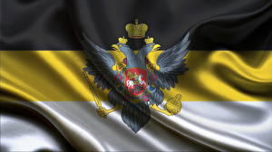 Фотографии Россия Логотип эмблема Двуглавый орёл Флаг Националисты Russian Empire