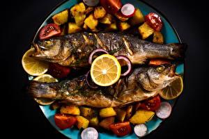 Фотографии Морепродукты Рыба Овощи Лимоны