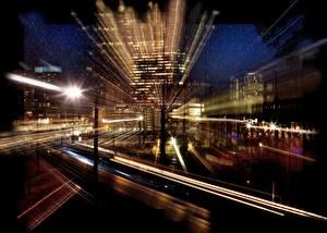 Фото Штаты Ночь Улице Пенсильвания Уличные фонари Philadelphia город