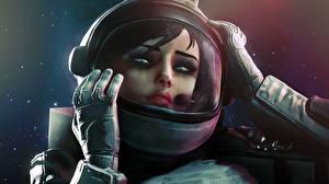 Фотографии BioShock Infinite Шлем Elizabeth Игры 3D_Графика Девушки