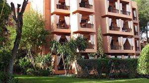 Картинка Марокко Отель Деревья Траве Marrakech Города