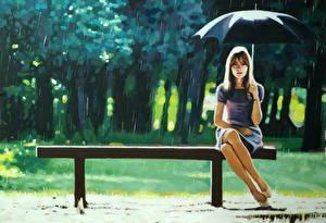 Картинка Картина Рисованные Дождь Зонт Скамья Thomas Saliot, Right as Rain Девушки