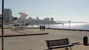 Фото Дома Побережье Чили Море Вальпараисо Улиц Скамейка Города