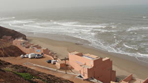 Картинки Здания Море Берег Марокко Ресторане Природа