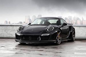 Картинки Porsche Черный Спереди 2014 TopCar 911 Carrera Turbo Stinger GTR Авто