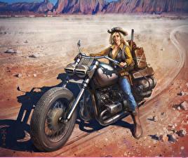 Обои Рисованные Мотоциклист Блондинка Шляпа Мотоциклы Девушки фото