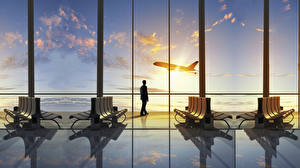 Фото Самолеты Мужчины Небо Пассажирские Самолеты Скамейка Окно Авиация