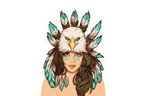 Обои Орлы Перья Рисованные Ловец снов Индейцы Девушки