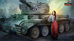 Обои WOT Рисованные Танки Nikita Bolyakov Игры Армия Девушки