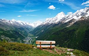 Картинки Швейцария Горы Пейзаж Скамейка Lötschental Природа