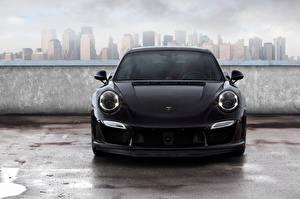 Фото Porsche Спереди Черный 2014 TopCar 911 Carrera Turbo Stinger GTR 991 Автомобили