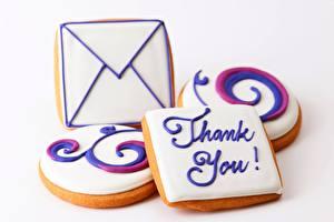 Картинки Печенье Выпечка Крупным планом Письмо thank you Еда