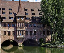 Обои Германия Дома Реки Нюрнберг River Pegnitz