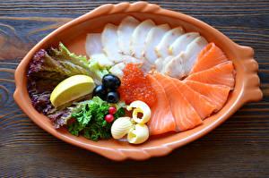 Обои Морепродукты Рыба Икра Тарелка