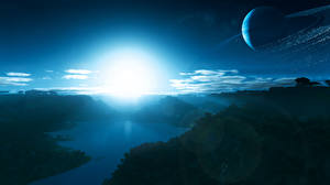 Фотографии Планеты Рассветы и закаты Поверхность планеты Космос 3D_Графика