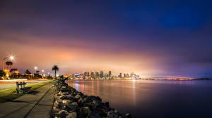 Фотография Штаты Дома Побережье Море Сан-Диего Ночью Скамейка Уличные фонари Города