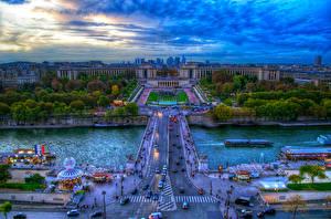 Фотография Франция Здания Река Мосты Небо HDRI Париже город