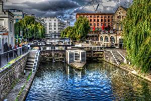 Картинка Великобритания Дома HDRI Лондон Водный канал Деревья Города