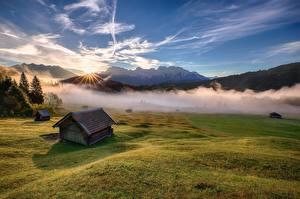 Фотография Дома Горы Небо Пейзаж Луга Туман Природа