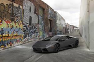 Картинки Lamborghini Граффити Дорогие Серый 2008 Reventon US-spec Машины