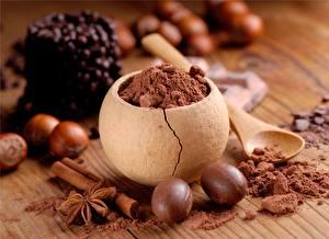 Картинка Орехи Шоколад Корица Крупным планом Еда