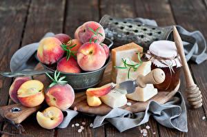 Картинки Персики Сыры Фрукты Продукты питания