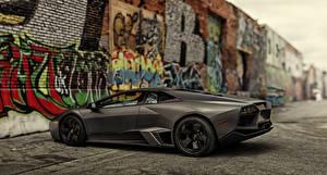 Фотография Lamborghini Граффити Серый Сбоку Дорогие 2008 Reventon US-spec, Машины