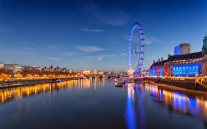Обои Англия Реки Небо Лондон Водный канал Колесо обозрения The London Eye Millennium Wheel on the south bank opposite Westminster Города