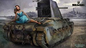 Фото World of Tanks Рисованные Самоходка Nikita Bolyakov Infanterie Panzerkampfwagen Mk II 748(E) mit 5 cm KwK L/42 Oswald Игры Девушки Армия
