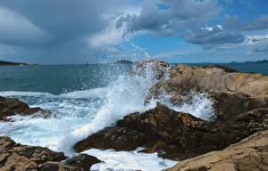 Обои Море Волны Брызги Природа