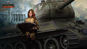 Фотография WOT Рисованные Танки Т-34 Униформа Nikita Bolyakov T-34-85 Rudy Игры Армия Девушки