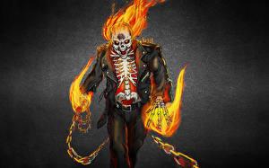 Обои Призрачный гонщик Рисованные Огонь Скелет Цепь Фэнтези фото