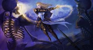 Обои Diablo III Битвы Скелет Reaper of Souls Crusader Игры Девушки фото