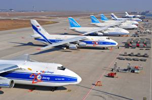 Фото Самолеты Транспортный самолёт Antonov An-124 Ruslan Volga-Dnepr Airlines Airport Leipzig Halle Perron Soviet heavy long-range Авиация