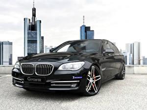 Фотографии БМВ Черные Металлик Спереди Фар 2015 2G-Power BMW 760i (F01) машина