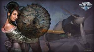Картинки World of Warplanes Рисованные Самолеты Nikita Bolyakov Зонт Игры Девушки