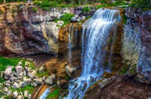 Обои США Водопады Камни HDR Paulina Falls Oregon Природа фото