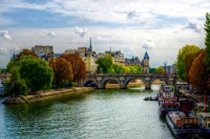 Фотографии Франция Дома Реки Мосты Речные суда HDR Париже Деревья Города