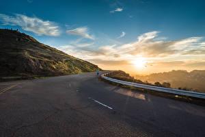 Фото Дороги Небо Рассветы и закаты Асфальт Природа