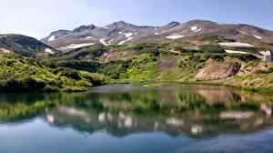Фото Россия Пейзаж Озеро Горы Камчатка Природа
