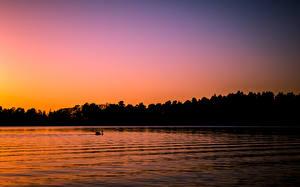 Картинки Финляндия Озеро Рассвет и закат Хельсинки Seurasaari Природа