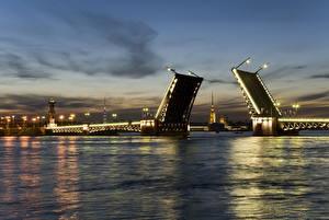 Картинка Санкт-Петербург Мосты Россия Река Города