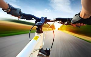 Картинка Дороги Велосипедный руль Велосипеде Рука Спорт