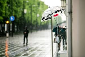Картинка Дождь Зонт Улица Города