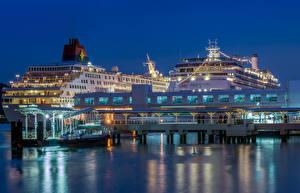 Картинки Сингапур Корабли Круизный лайнер Пирсы Города