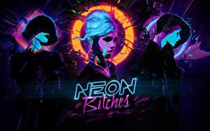 Фото Логотип эмблема Лицо neon bitches synthwave music cyberpunk Девушки