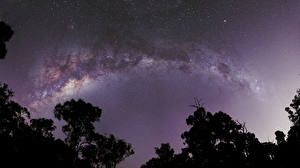 Картинка Млечный Путь Небо Звезды Ночь Космос