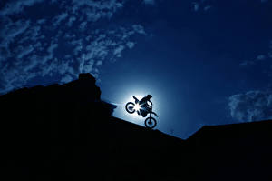 Фотография Небо Мотоциклист Ночь racer bike Мотоциклы