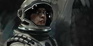 Фотография Anne Hathaway Астронавт Рисованные Интерстеллар Шлем Amelia Brand Фильмы Девушки