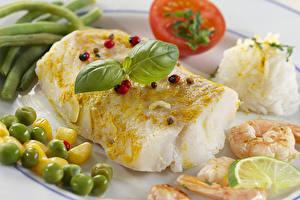 Фотографии Морепродукты Рыба Креветки Овощи